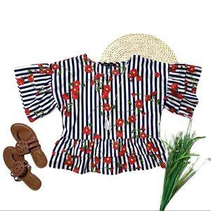Sweet Rain • Floral Stripe Ruffle Sleeve Blouse S